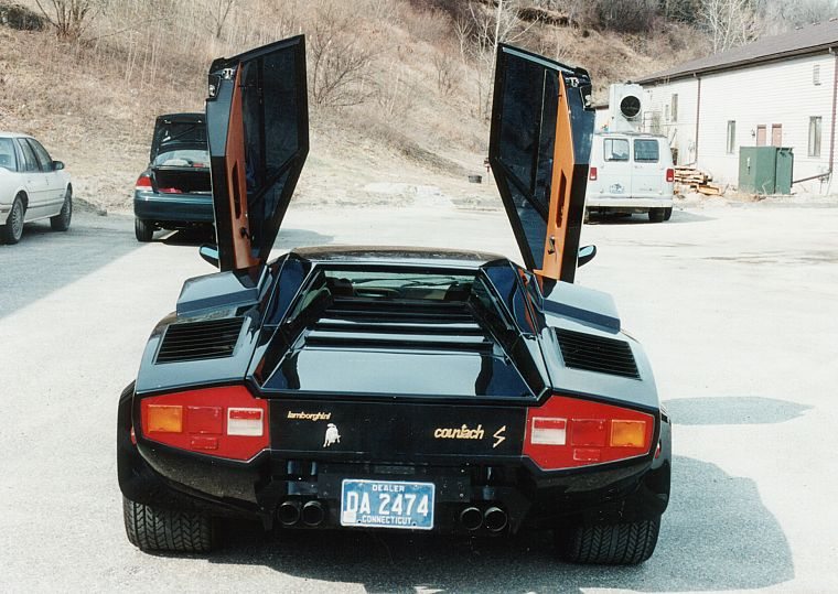 black, cars, Lamborghini, back view, vehicles, Lamborghini Countach, open doors, italian cars - desktop wallpaper