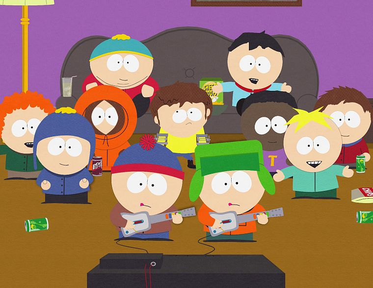 South Park, Eric Cartman, Stan Marsh, Guitar Hero, Kenny McCormick, Kyle Broflovski, Butters Stotch - desktop wallpaper
