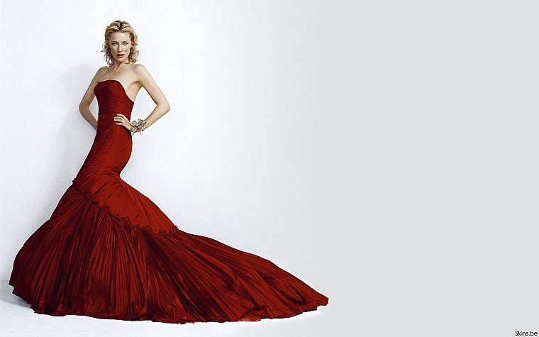 blondes, women, actress, Cate Blanchett, red dress, simple background, white background - desktop wallpaper