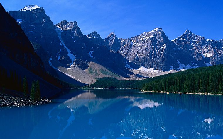 mountains, landscapes, nature, trees, lakes, reflections - desktop wallpaper