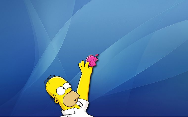 Apple Inc., Mac, Homer Simpson, donuts, The Simpsons - desktop wallpaper