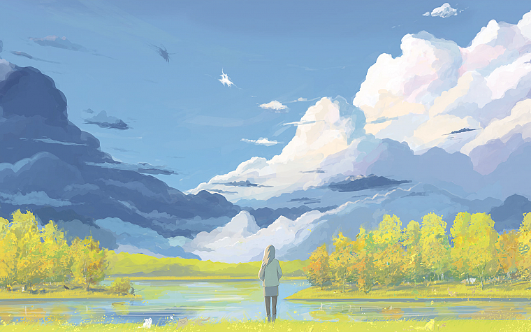 clouds, landscapes, painted, lakes, ArseniXC - desktop wallpaper