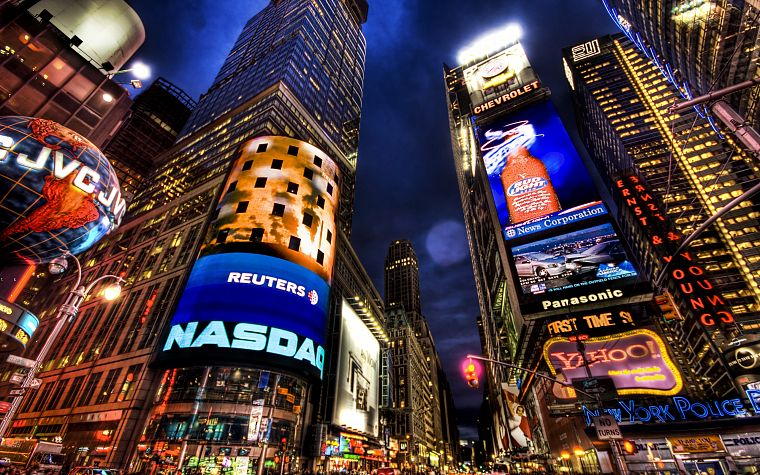 cityscapes, night, architecture, buildings, New York City, skyscrapers, Times Square, advertisement - desktop wallpaper
