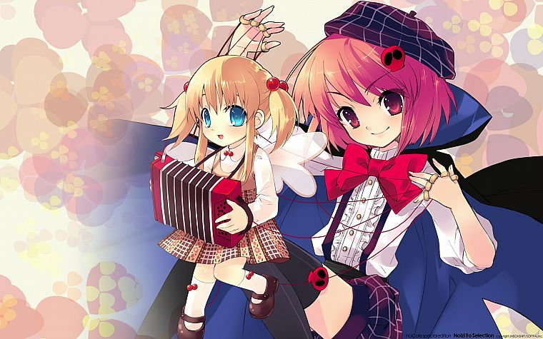 blondes, blue eyes, ribbons, pink hair, pink eyes, hats, anime girls, accordion, puppets - desktop wallpaper