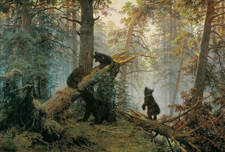 paintings, forests, bears, Ivan Shishkin - desktop wallpaper