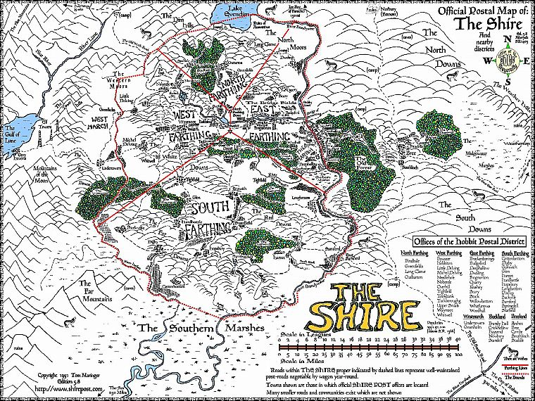 The Lord of the Rings maps Middleearth The Shire Free