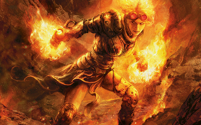 women, fire, Magic: The Gathering, glasses, artwork, Chandra Nalaar, Planeswalker - desktop wallpaper
