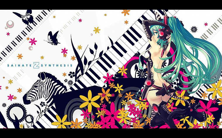 women, tails, Vocaloid, gloves, flowers, Hatsune Miku, keyboards, long hair, green eyes, high heels, zebras, green hair, twintails, Miku Append, Vocaloid Append - desktop wallpaper