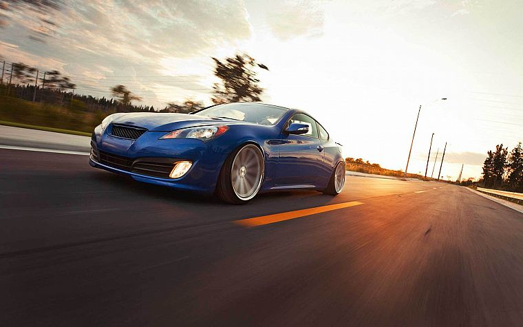 cars, roads, tuning, Hyundai Genesis Coupe - desktop wallpaper