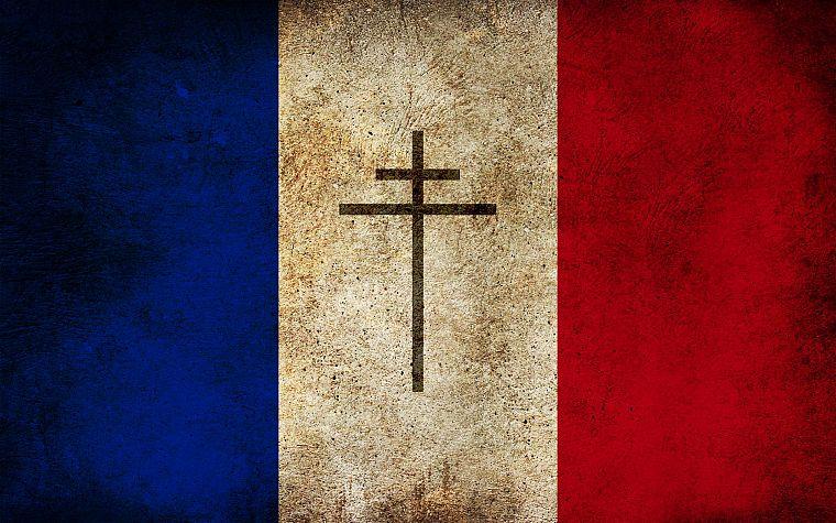 France French Flag Lorraine Cross