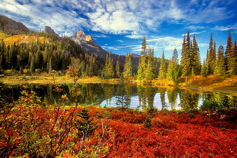 water, mountains, clouds, landscapes, nature, trees, autumn, lakes, reflections - desktop wallpaper