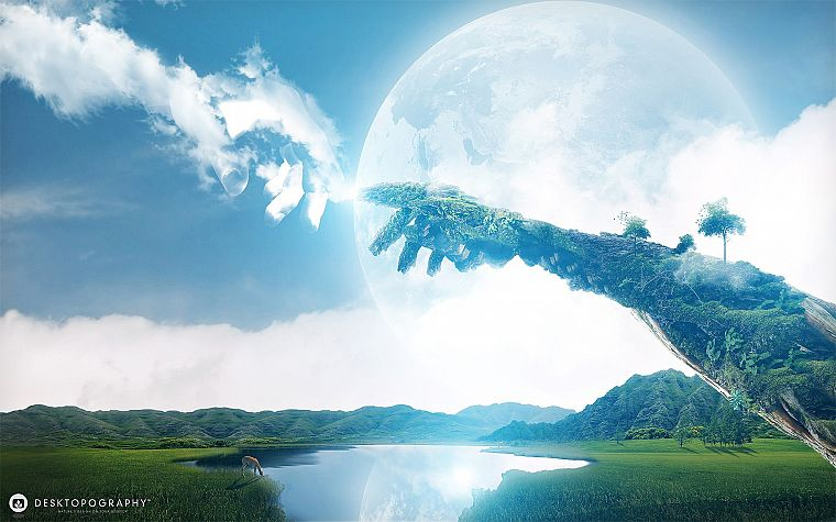 abstract, landscapes, planets, hills, fantasy art, antelope, lakes, Desktopography, reaching out, arms - desktop wallpaper