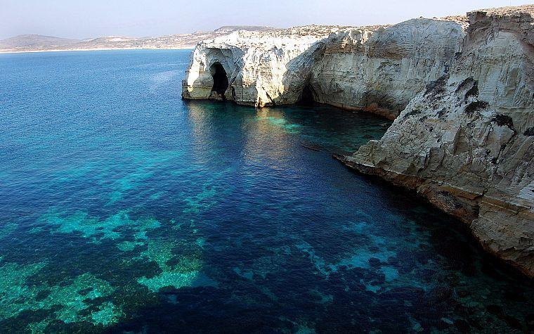 Water Landscapes Rocks Islands Greece Milos Free Wallpaper Wallpaperjam Com