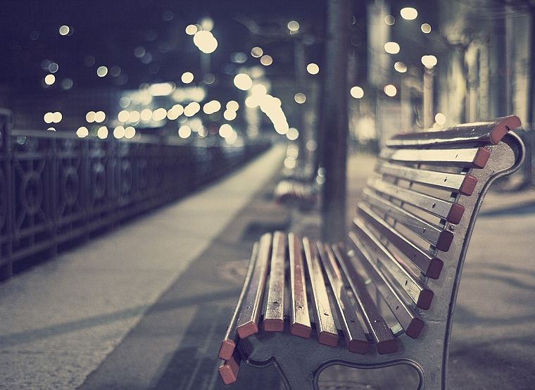cityscapes, bench, depth of field - desktop wallpaper