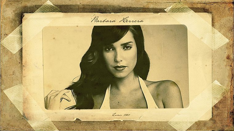 brunettes, women, paper, models, lips, sepia, Barbara Herrera - desktop wallpaper