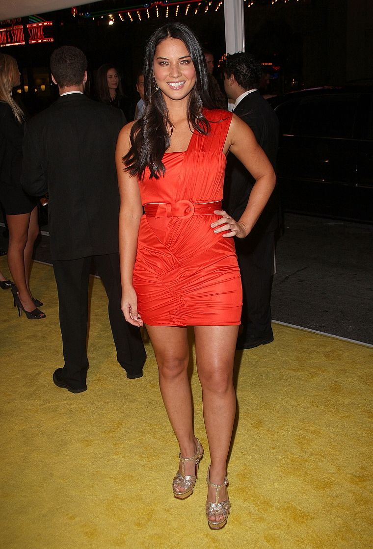 women, Olivia Munn, red dress - desktop wallpaper