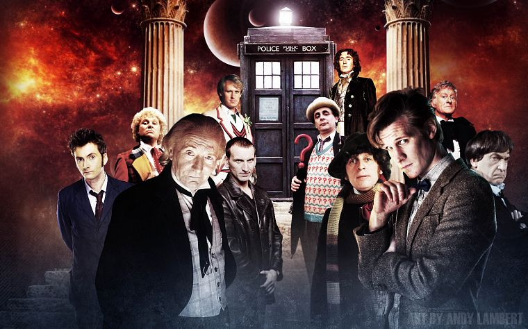 TARDIS, David Tennant, Matt Smith, Fourth Doctor, Tom Baker, Eleventh Doctor, Paul McGann, Doctor Who, William Hartnell, Christopher Eccleston, Peter Davison, Jon Pertwee, Tenth Doctor, Patrick Troughton, Third Doctor, Colin Baker, First Doctor, Eighth Do - desktop wallpaper