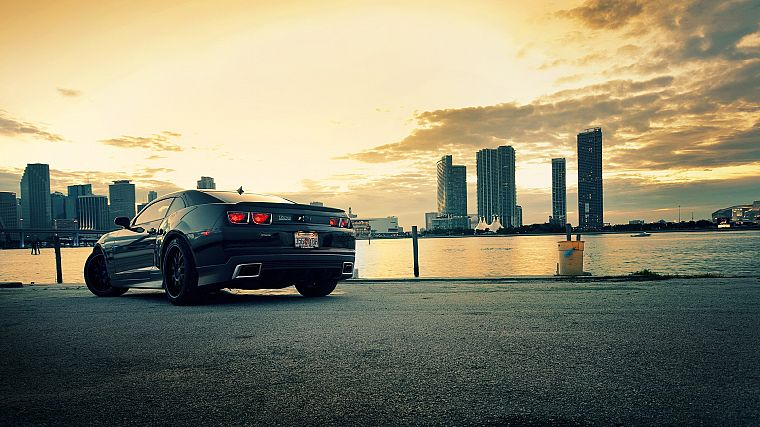 water, cityscapes, cars, roads, Chevrolet Camaro - desktop wallpaper