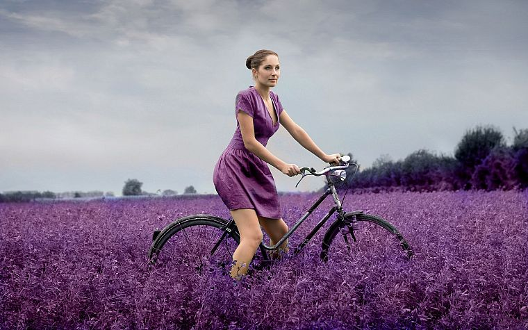 brunettes, women, dress, bicycles, purple, selective coloring, purple dress - desktop wallpaper