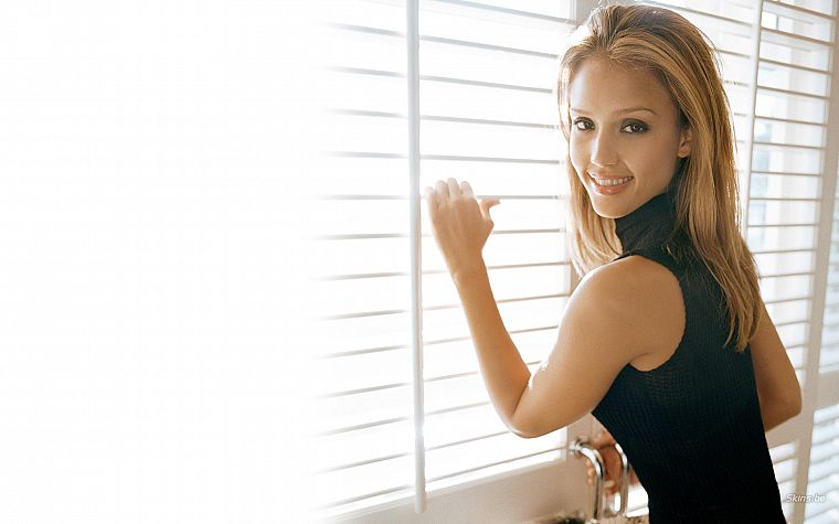 blondes, women, Jessica Alba, actress, white background - desktop wallpaper