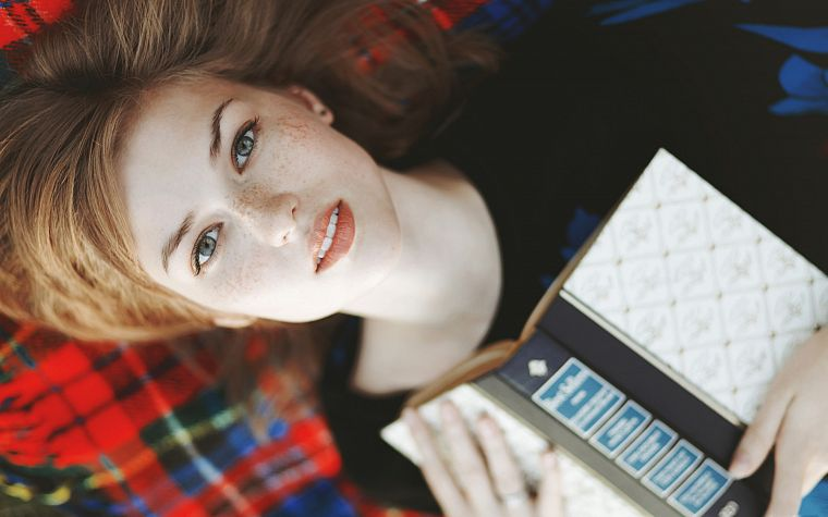 women, models, freckles, books, 404, faces, strawberry blonde hair, pale skin - desktop wallpaper