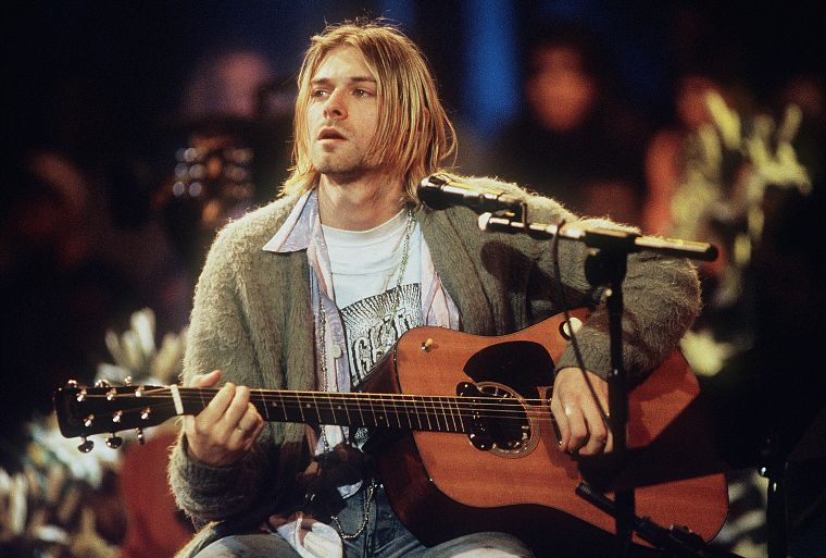 music, Nirvana, Kurt Cobain, MTV, guitars, music bands - desktop wallpaper