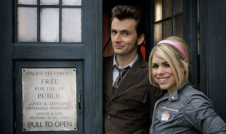 Rose Tyler, TARDIS, David Tennant, Billie Piper, Doctor Who, Tenth Doctor - desktop wallpaper