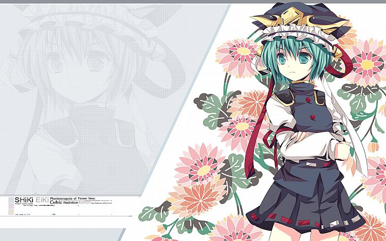 video games, Touhou, uniforms, flowers, skirts, ribbons, green eyes, short hair, green hair, hats, Shikieiki Yamaxanadu - desktop wallpaper