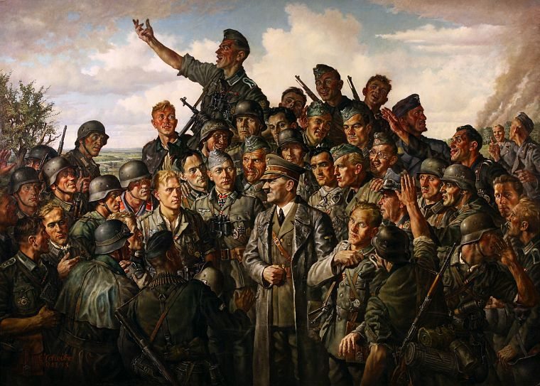 soldiers, paintings, war, Nazi, German - desktop wallpaper