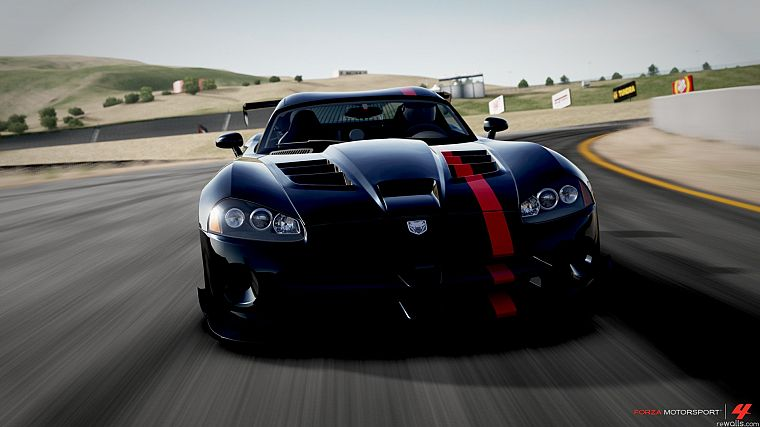 video games, black, cars, Dodge, vehicles, Dodge Viper, Dodge Viper SRT-10, front view, Dodge Viper SRT-10 ACR, Forza Motorsport 4 - desktop wallpaper