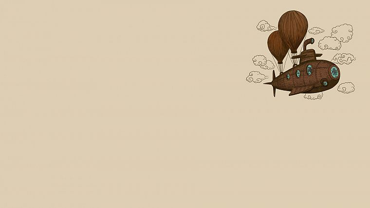 clouds, minimalistic, steampunk, octopuses, balloons, reversed reality, u-boat - desktop wallpaper