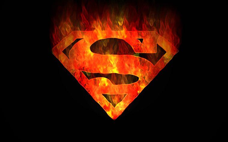 DC Comics Superman Fire Logo Black Background