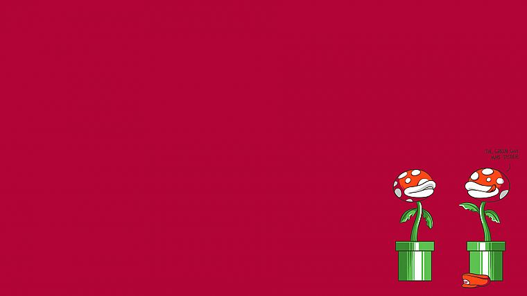 cartoons, minimalistic, Mario Bros, funny, mushrooms, plants - desktop wallpaper