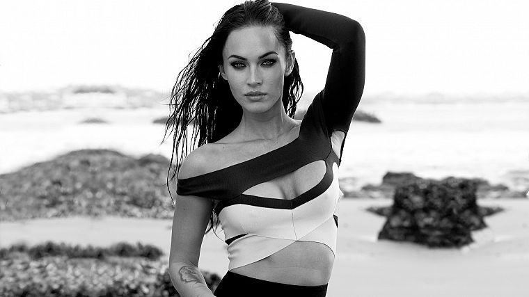 brunettes, tattoos, women, ocean, eyes, Megan Fox, actress, celebrity, monochrome, greyscale - desktop wallpaper