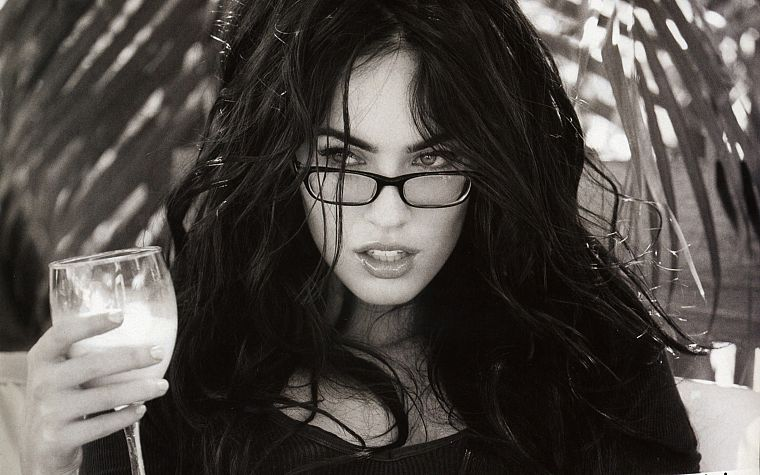 brunettes, women, Megan Fox, actress, glasses, celebrity, grayscale, monochrome, girls with glasses - desktop wallpaper