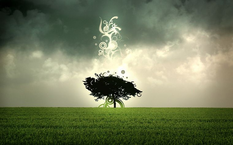 abstract, trees, grass, sacred, skyscapes, photo manipulation - desktop wallpaper