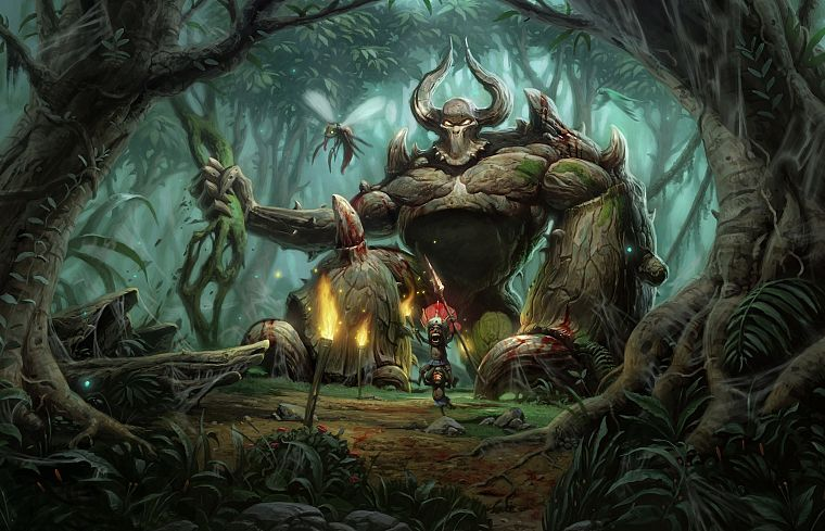 video games, jungle, PC, Golem, artwork, Diablo II, games, pc games - desktop wallpaper