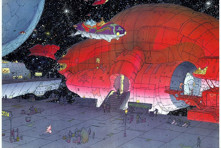 outer space, artwork, moebius - desktop wallpaper