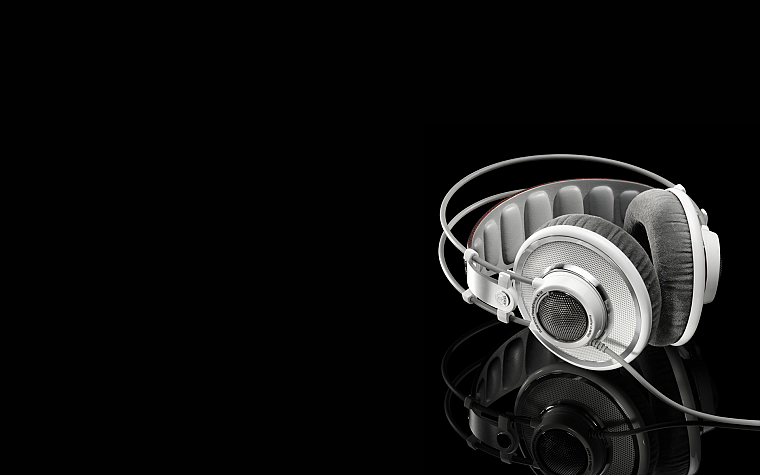 headphones, music, grayscale, earphones, monochrome, black background - desktop wallpaper