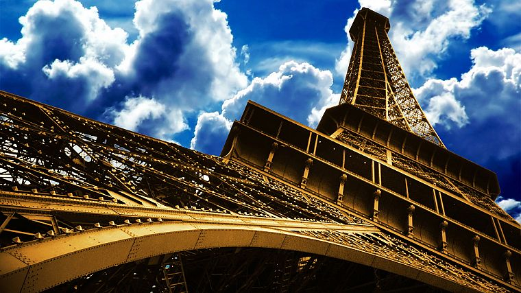 Eiffel Tower, clouds, skyscapes - desktop wallpaper