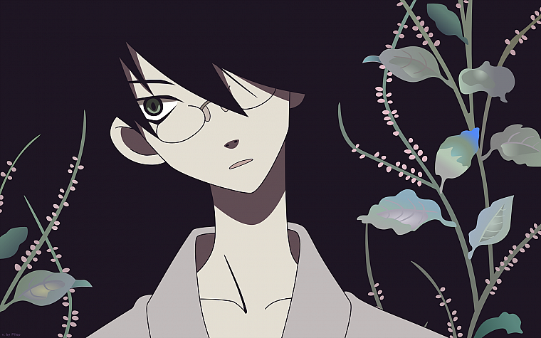 Sayonara Zetsubou Sensei, glasses, plants, green eyes, short hair, open mouth, anime boys, Itoshiki Nozomu, Japanese clothes, simple background, faces, black background, collar bone, black hair, head tilt - desktop wallpaper