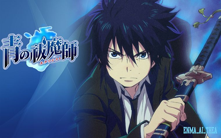 school uniforms, anime, anime boys, Ao no Exorcist, Okumura Rin, swords - desktop wallpaper
