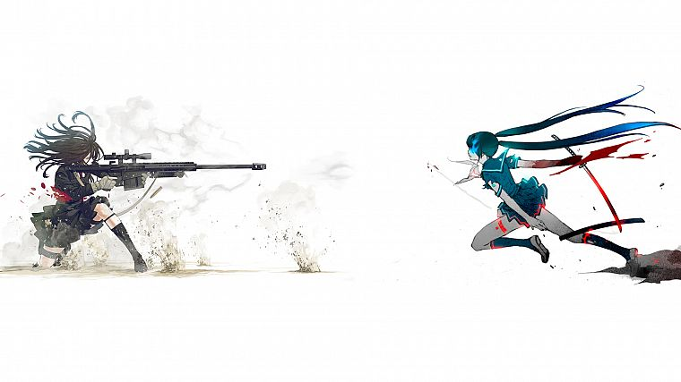 Vocaloid, Black Rock Shooter, Hatsune Miku, katana, school uniforms, duel, sniper rifles, anime, simple background, anime girls, Kozaki Yusuke, sailor uniforms, original characters - desktop wallpaper