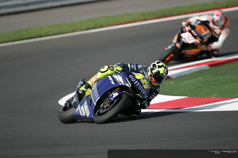 vehicles, Moto GP, motorbikes, Valentino Rossi, Nicky Hayden, race tracks - desktop wallpaper