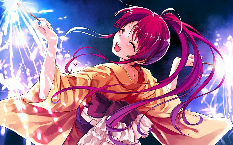 video games, redheads, fireworks, smiling, Japanese clothes, Misaki Kurehito, Suiheisen made Nan Mile?, Miyamae Tomoka - desktop wallpaper