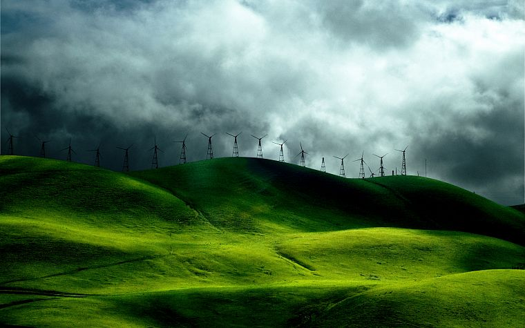 wind, hills, windmills, farms - desktop wallpaper
