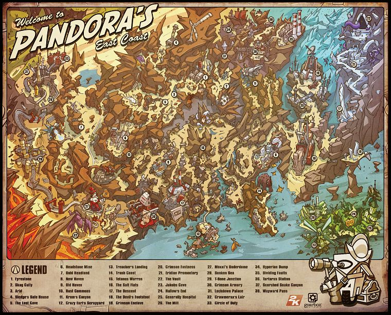 video games, Borderlands, maps - desktop wallpaper