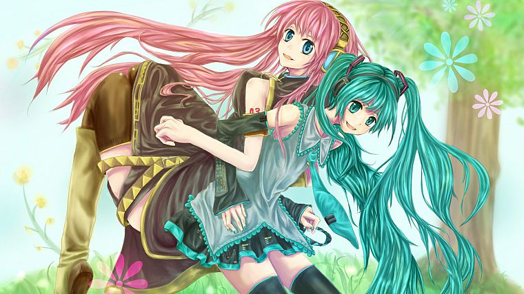 Vocaloid, Hatsune Miku, Megurine Luka, detached sleeves - desktop wallpaper