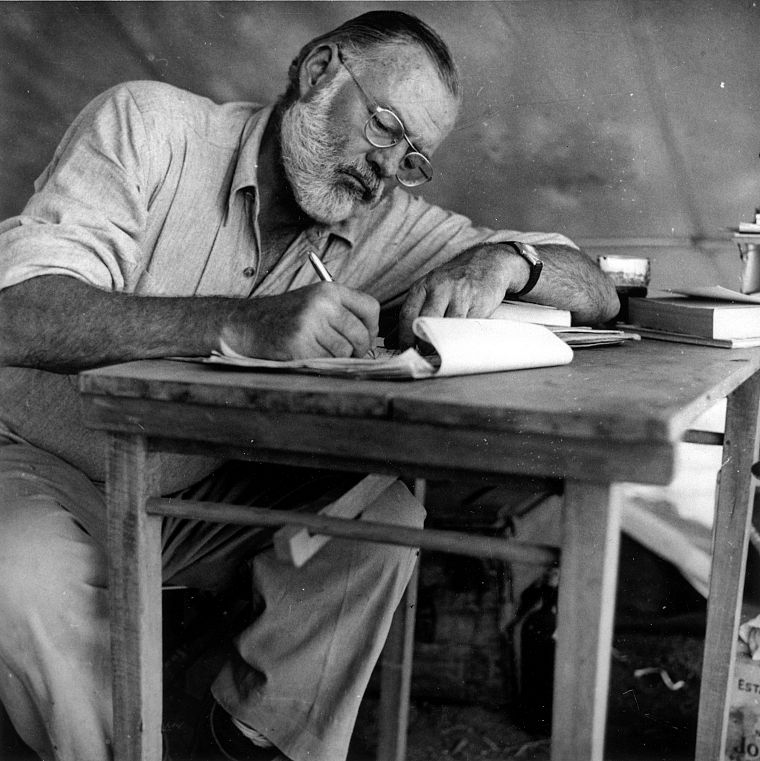 grayscale, drawings, writing, Ernest Hemingway - desktop wallpaper