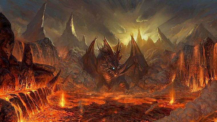 video games, mountains, wings, red, dragons, orange, lava, fantasy art, artwork, Lineage 2, Valakas - desktop wallpaper